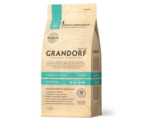 Grandorf Cat Indoor сухой корм для кошек (4 мяса с рисом и пробиотиками) 400г