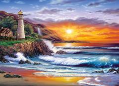 Картина раскраска по номерам 40x50 Закат на пляже