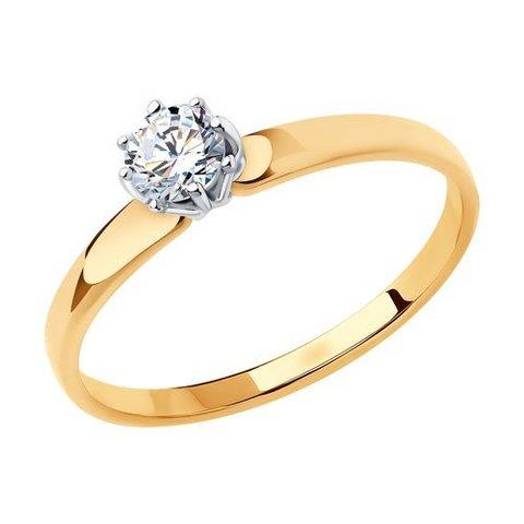 018493- Помолвочное кольцо из золота с фианитом