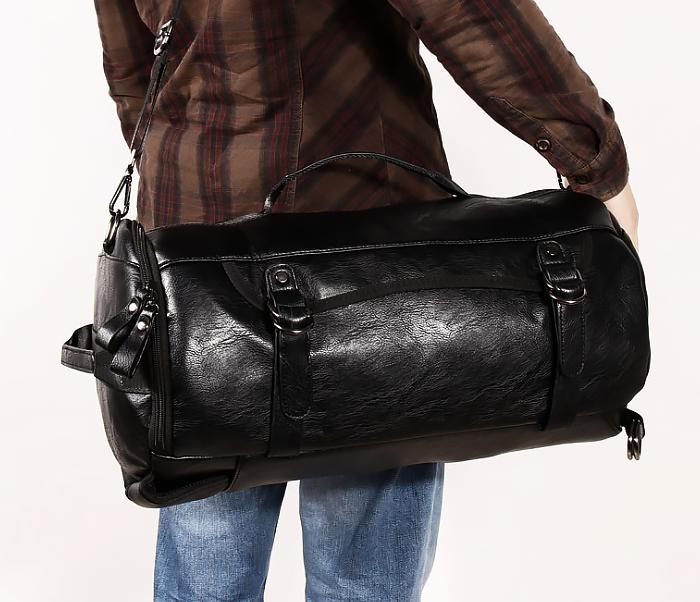 BAG427-1 Мужской рюкзак трансформер из кожи черного цвета фото 04