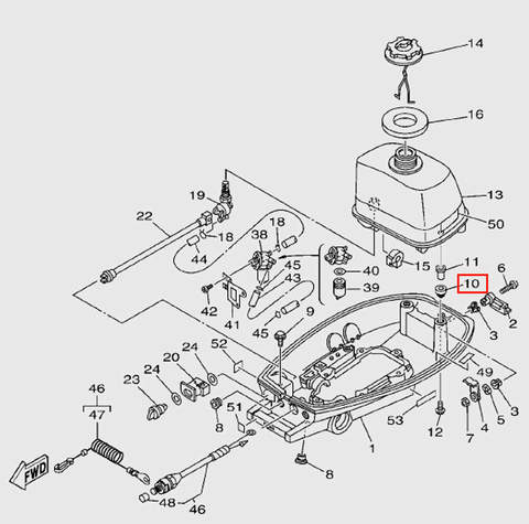 Демпфер топливного бака  для лодочного мотора T5 Sea-PRO (7-10)