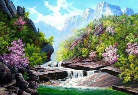 Картина раскраска по номерам 30x40 Неспешный водопад