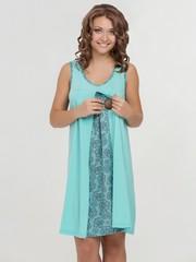 Vivamama. Сорочка для беременных и кормящих Nataly бирюза 1