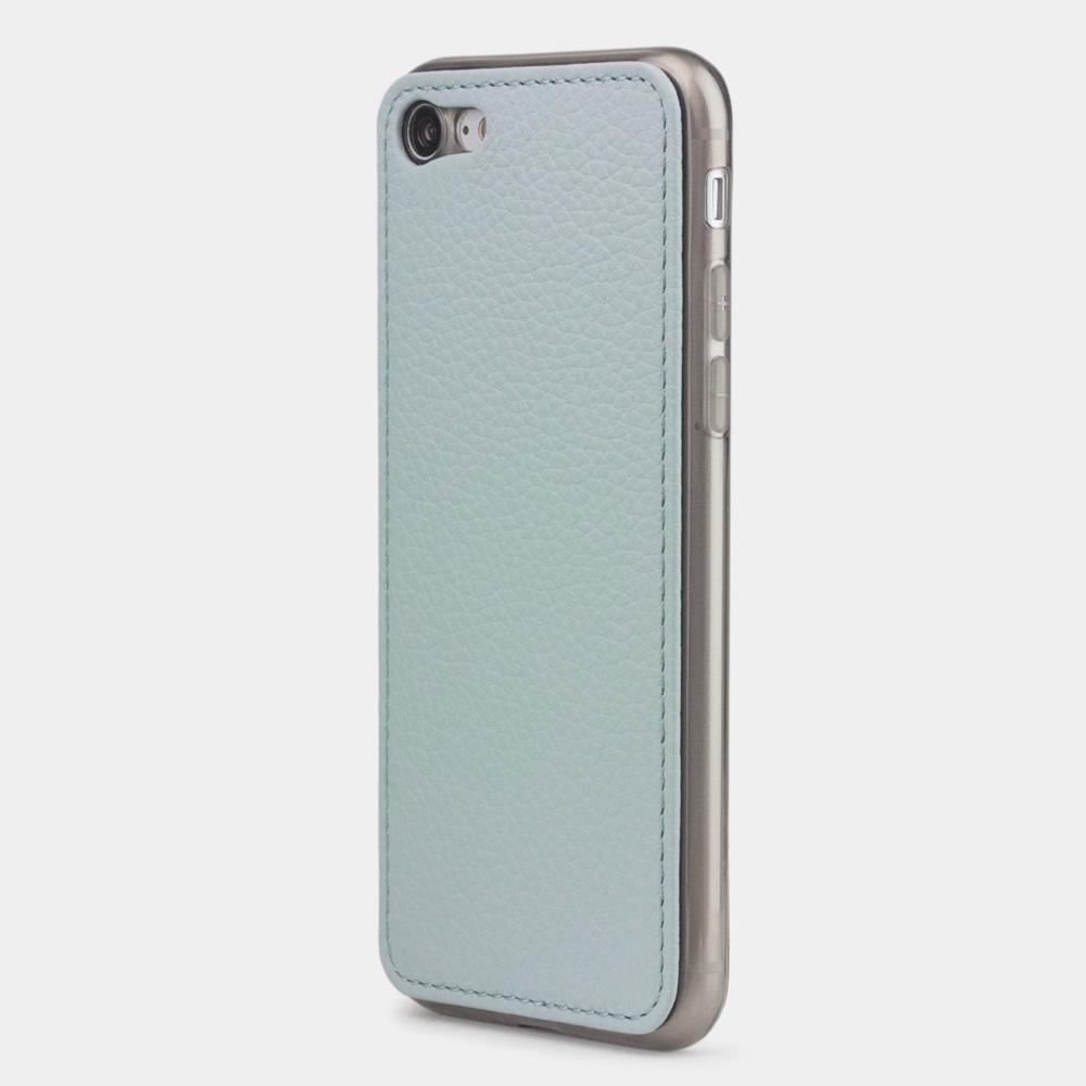 Чехол-накладка для iPhone 8/SE из натуральной кожи теленка, голубого цвета