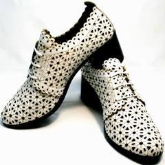 Женские летние полуботинки на каблуке со шнуровкой Arella 426-33 White.