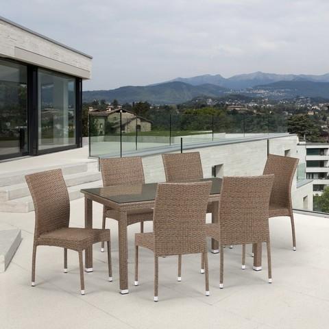 Комплект плетеной мебели T256B/Y380B-W56 Light Brown 6Pcs