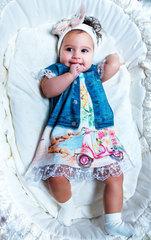 Папитто. Платье с синей жилеткой FASHION JEANS вид 2
