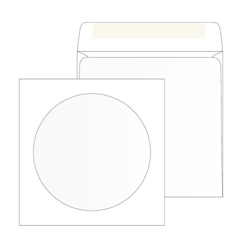Конверт для CD Packpost 125x125 мм 90 г/кв.м белый декстрин с круглым окном (25 штук в упаковке)