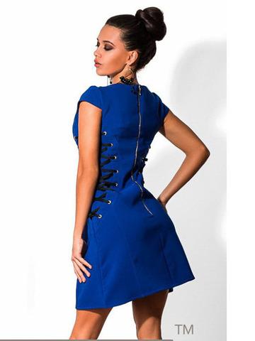 Короткое платье со шнуровкой, синее 1