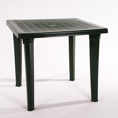 Пластиковый квадратный стол темно-зеленый