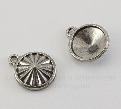 """Сеттинг - основа - подвеска TierraCast """"Грани"""" для страза 14 мм (цвет-античное серебро)"""