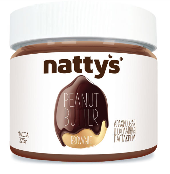 Арахисовая паста шоколадная BROWNIE NATTY'S 325 г