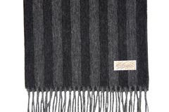 Шерстяной шарф, мужской полосатый черно-серый 30351