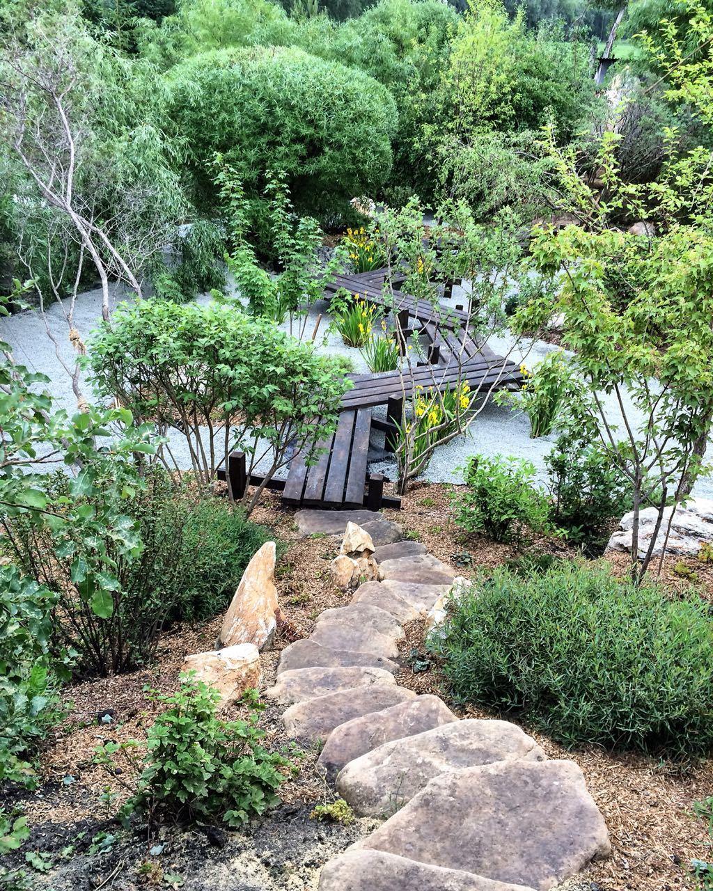 Японский сад Ступень камень речной Жёлтый
