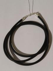 Каучуковый шнурок 3 мм. (с серебряной застежкой).