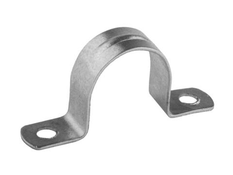 Скобы СВЕТОЗАР металлические D25мм, двухлапковые, для крепления металлорукава d=20мм, 50шт