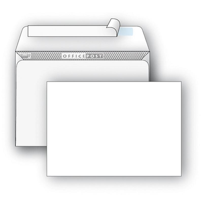 Конверт OfficePost E65 80 г/кв.м белый стрип с внутренней запечаткой (1000 штук в упаковке)