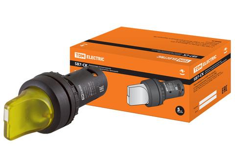Переключатель на 2 положения с фиксацией SB7-CK2561-220V короткая ручка(LED) d22мм 1з желтый TDM