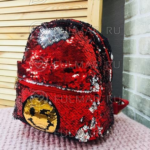 Рюкзак с двусторонними пайетками нашивкой Смайлик меняет цвет Красный-Серебристый