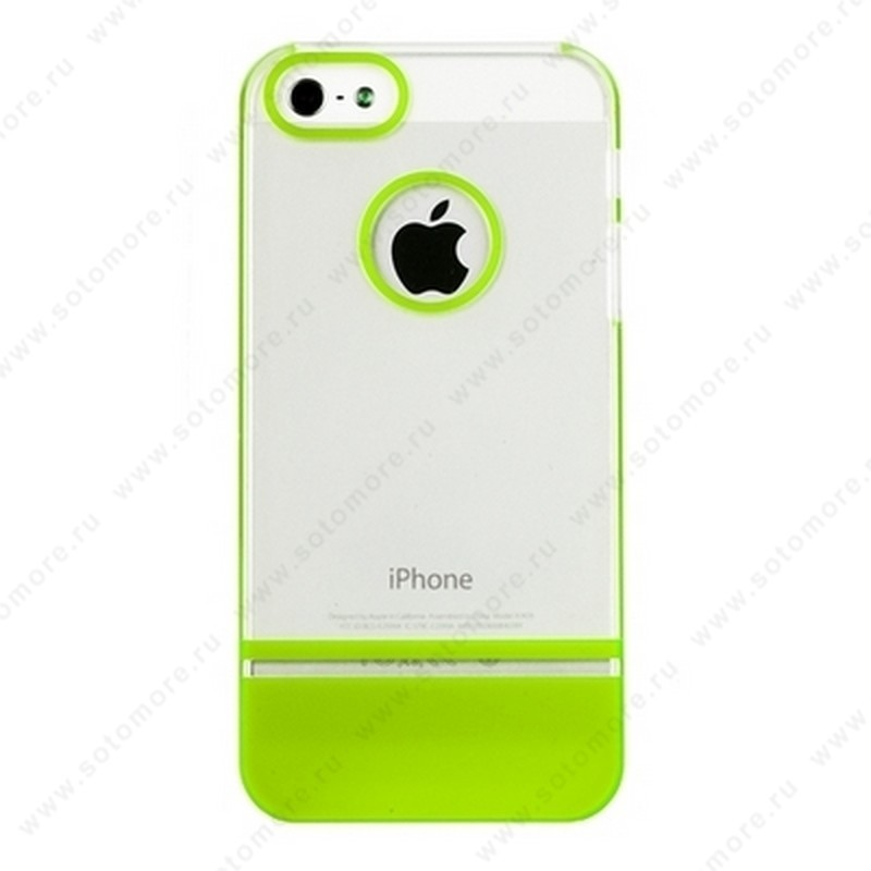 Накладка MOBILE 7 для iPhone SE/ 5s/ 5C/ 5 белый верх салатовый низ