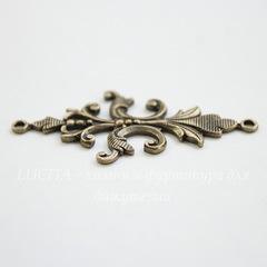 Винтажный декоративный элемент - коннектор (1-1) 40х18 мм (оксид латуни)