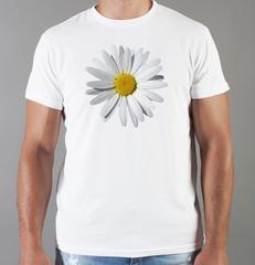Футболка с принтом Цветы (Ромашки) белая 006