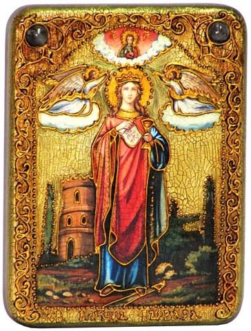 Инкрустированная рукописная икона Святая великомученица Варвара Илиопольская 20х15см на натуральном дереве в подарочной коробке