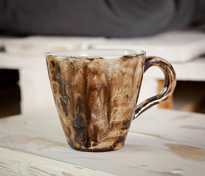 CUP106 Красивая кружка из глины для чая и кофе ручной работы (180 мл) фото 04