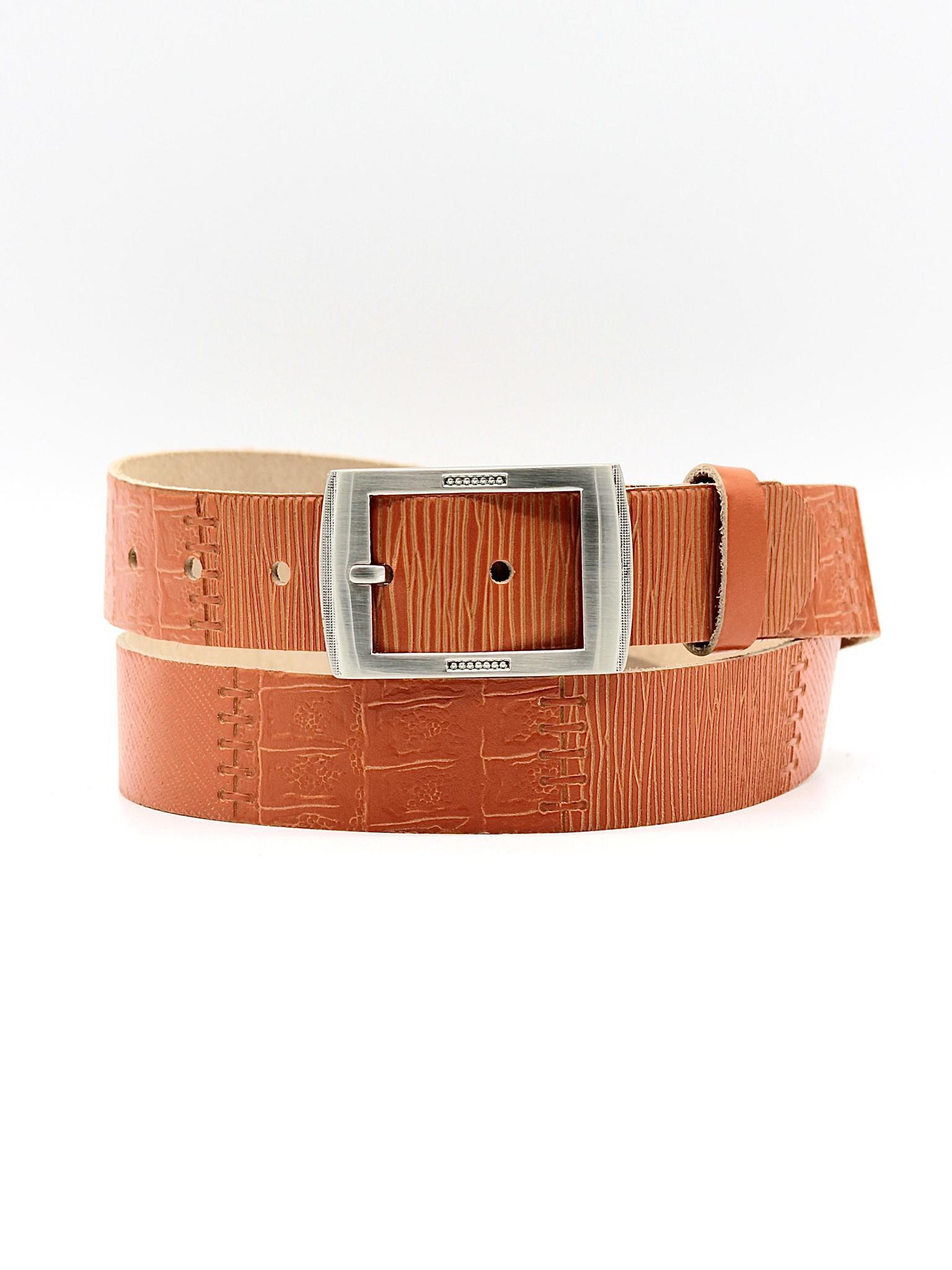 Женский кожаный оранжевый ремень 35 мм Coscet WW35-1-3