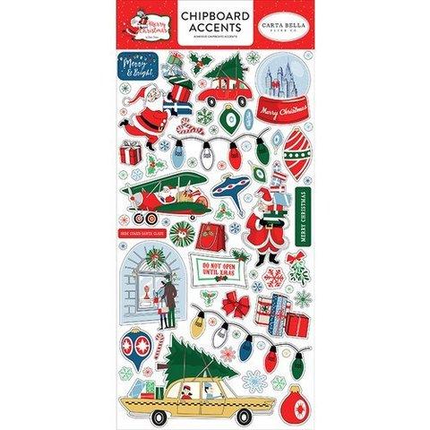Чипборд  Merry Christmas Chipboard - Accents-15х30 см