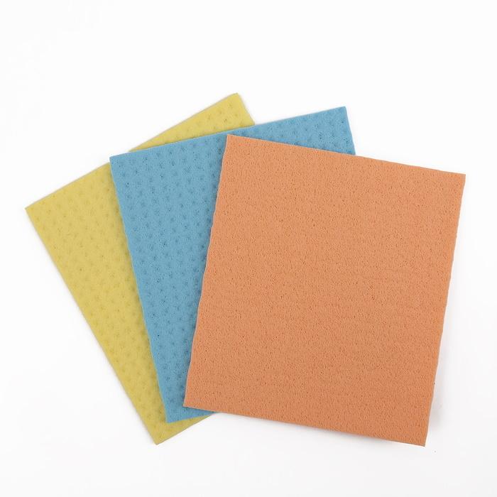 Салфетки для влажной уборки губчатые 1517 см, целлюлоза, 3 шт фото