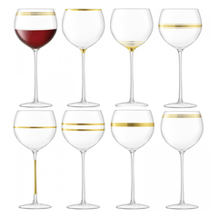 Набор из 8 бокалов для вина с золотым декором Deco 525 мл, фото 1