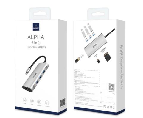 Переходник adapter Hub Type-C 6in1Wiwu LAN, SD, MicroSD, 3*USB 3.0 /gray/ A631STR