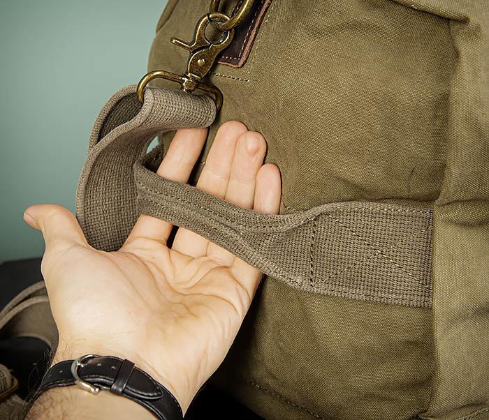BAG500-3 Тканевая дорожная сумка зеленого цвета с ремнем на плечо фото 04