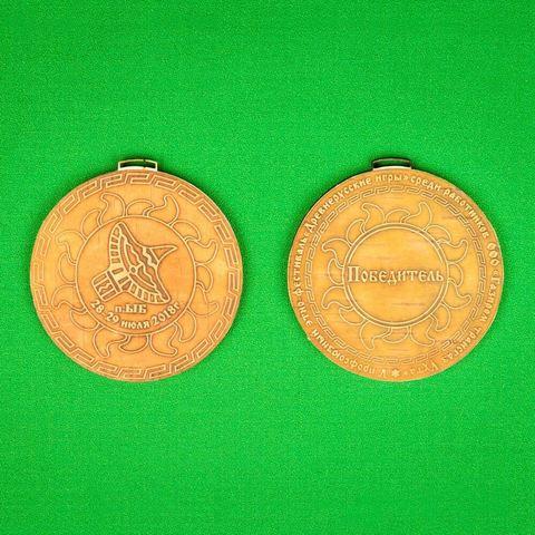 Пример двусторонней берестяной медали для соревнований