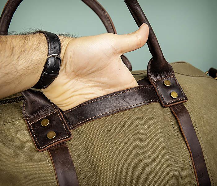 BAG500-3 Тканевая дорожная сумка зеленого цвета с ремнем на плечо фото 05