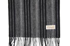 Шерстяной шарф, мужской черно-серый 30371