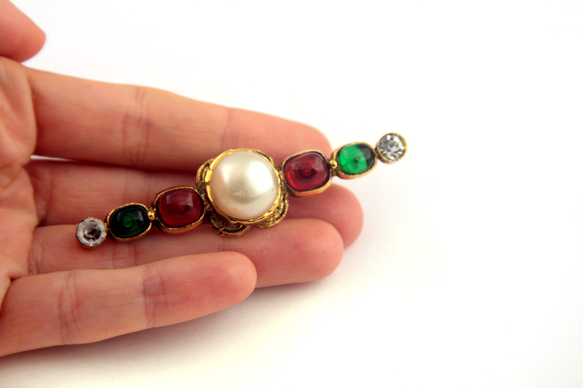 Chanel 1985 Pearl, Gripoix and Rhinestone Brooch Pin