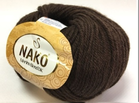 Пряжа Nako Merino Blend DK 282 шоколад