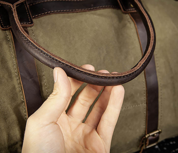 BAG500-3 Тканевая дорожная сумка зеленого цвета с ремнем на плечо фото 06