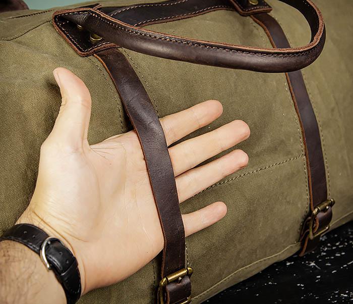 BAG500-3 Тканевая дорожная сумка зеленого цвета с ремнем на плечо фото 07