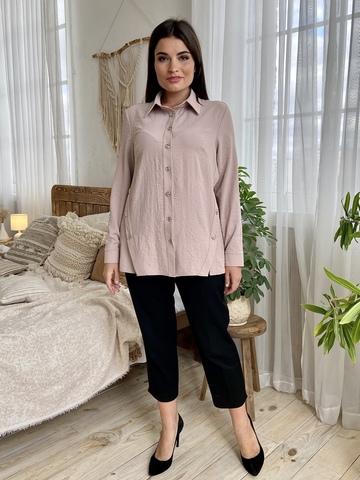 Глэм. Стильная блуза больших размеров. Бежевый