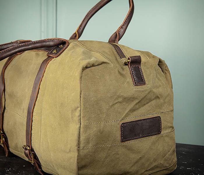 BAG500-3 Тканевая дорожная сумка зеленого цвета с ремнем на плечо фото 08