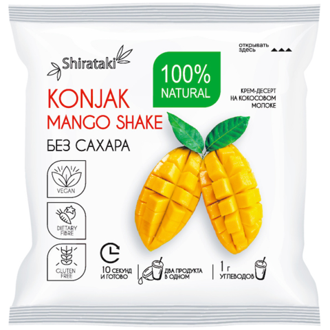 Десерт манговый низкокалорийный без сахара Mango Shake Shirataki, 15г