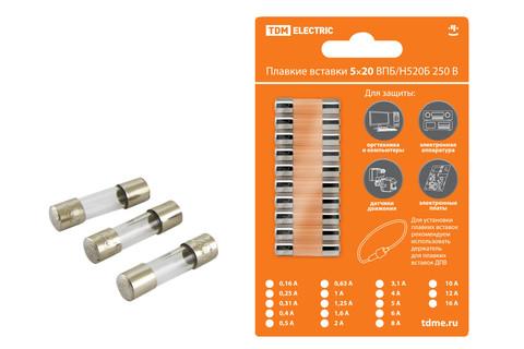 Плавкая вставка ВПТ6-8 1,25А 250В TDM упак (10 шт.)