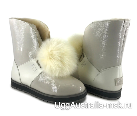 UGG Isley Patent Waterproof Boot White