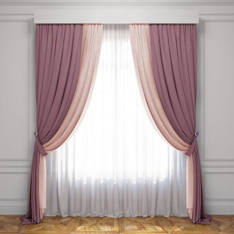 Комплект штор и тюль Ламанш розовый светло-розовый
