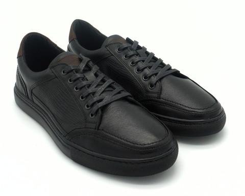 Черные кожаные полуботинки на шнуровке с коричневыми вставками