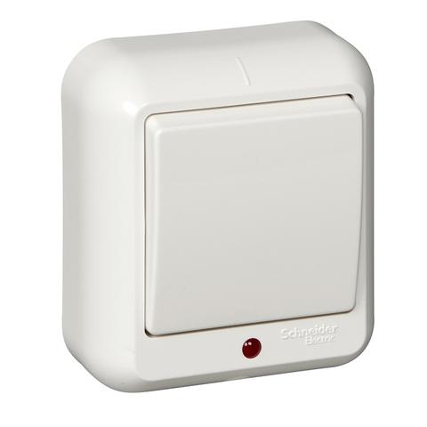 Выключатель одноклавишный с подсветкой и металлической пластиной 6 А 250 В в розничной упак. Цвет Белый. Schneider Electric(Шнайдер электрик). Prima(Прима). A16-046M-BI