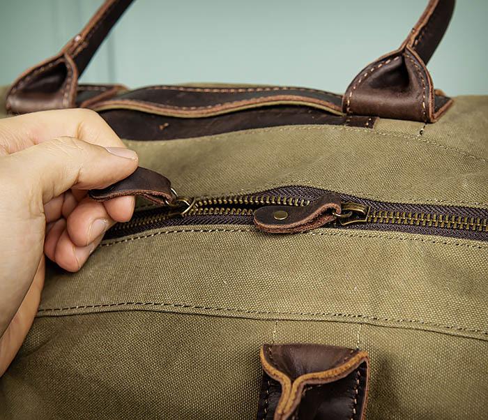 BAG500-3 Тканевая дорожная сумка зеленого цвета с ремнем на плечо фото 10